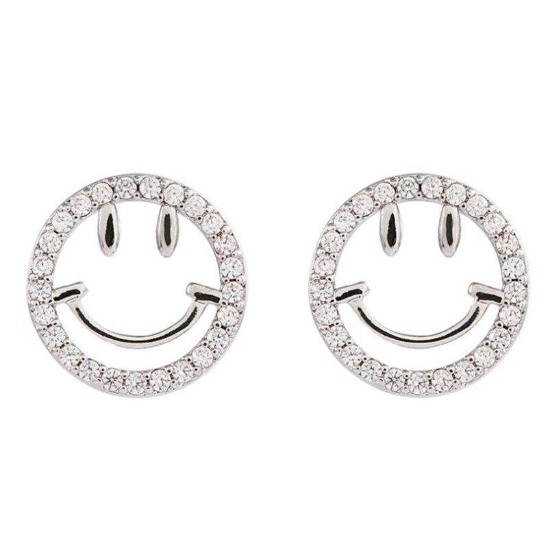 Fashion Silver Color Smiley Cute Little Earrings Women Men Mood Jewellery