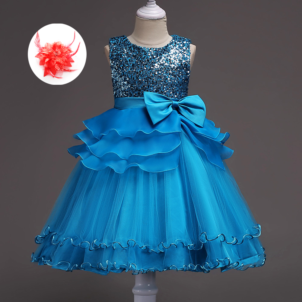 Flower Kids Summer Sequined Wedding Birthday Party Ball Gowns Girls Party Formal Dress Evening Wear Clothing