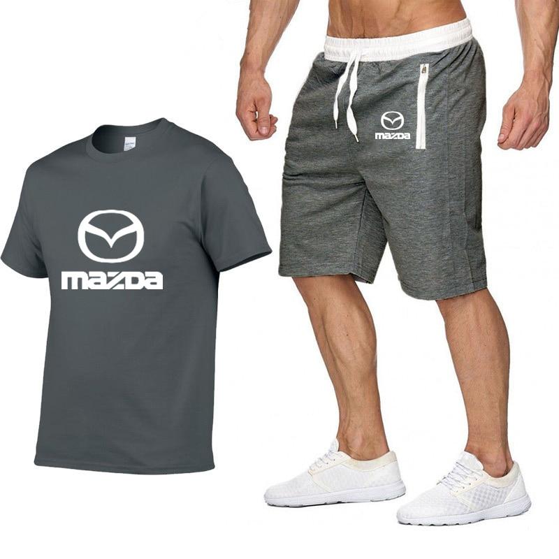 Mens Short Sleeve Mazda Car Logo Summer Mens T Shirt Hip Hop Harajuku T-Shirt High Quality Cotton T Shirts Pants Suit Sportswear