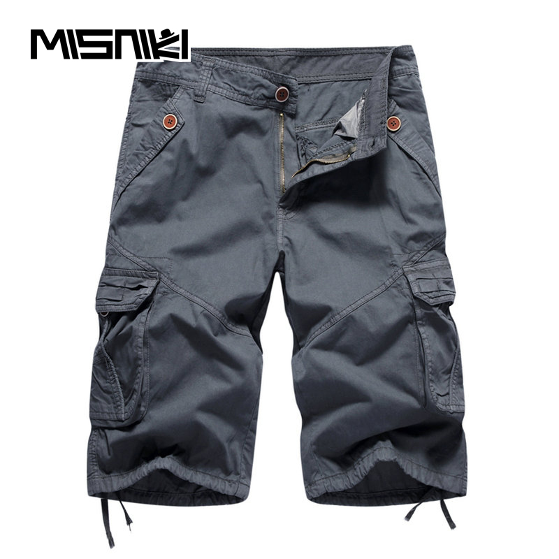 MISNIKI Brand 2018 Summer Hot Selling Cotton Solid Cargo Shorts Men Casual Slim Military Mens Shorts Workout Bermuda Masculina ...