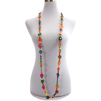 Ethnic Wholesale Multicolor Coconut Shell Long Beaded Handmade Necklace Wooden Round Strand Knitted Bohemian Jewelry for Women