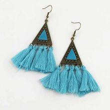 Earings Real Sale Tin Alloy Ethnic Figure Brinco Tassel Earrings Long Bohemian Female Chain Retro Pendant Geometry 2019 Jewelry(China)