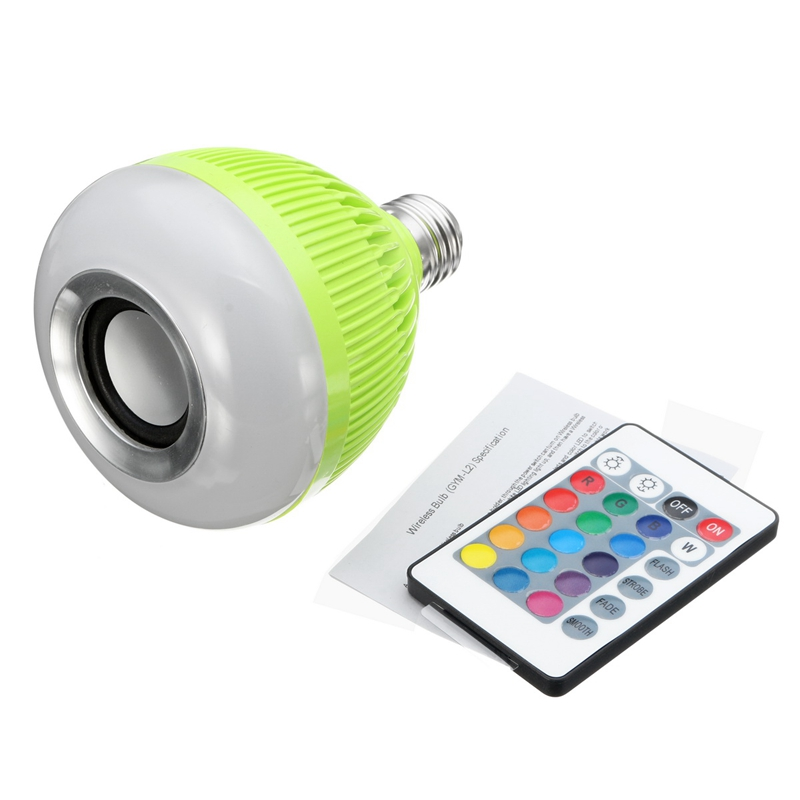 Dimmable 12W 28 LED Lamp Bulb E27 RGB Wireless Bluetooth Speaker Bulb Music Playing LED Light Bulb With 24 Keys Remote Control newstyle portable wireless audio bluetooth speaker music playing e27 dimmable led light bulb lamp with rf remote control brightness adjustable and volume up down for smartphones tablets pcs and other bluetooth enabled devices