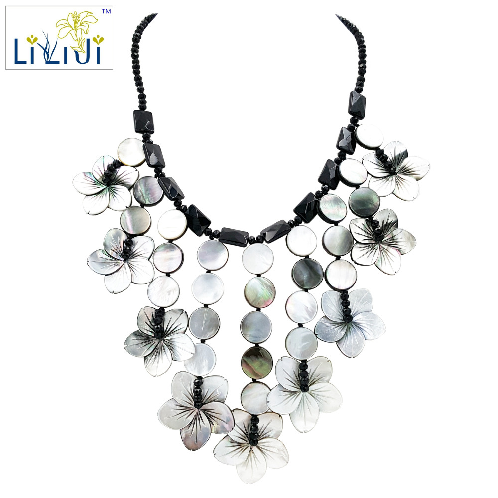 Natural Stone Black Agate,Shell <font><b>Flowers</b></font>,Glass Beads Fashion Women Jewelry Statement Necklace approx 48cm