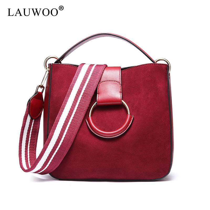 LAUWOO Women Real Split Suede Leather Tote Bag Lady Casual Crossbody handbag Female Leisure Messenger Top-handle Bag