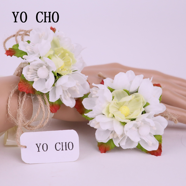 4b9f09004e US $3.74 29% OFF|YO CHO Fashion White Rose Wrist Corsages Bridesmaid  Sisters Hand Flowers Artificial Bride Flowers For Wedding Party Decor  Prom-in ...