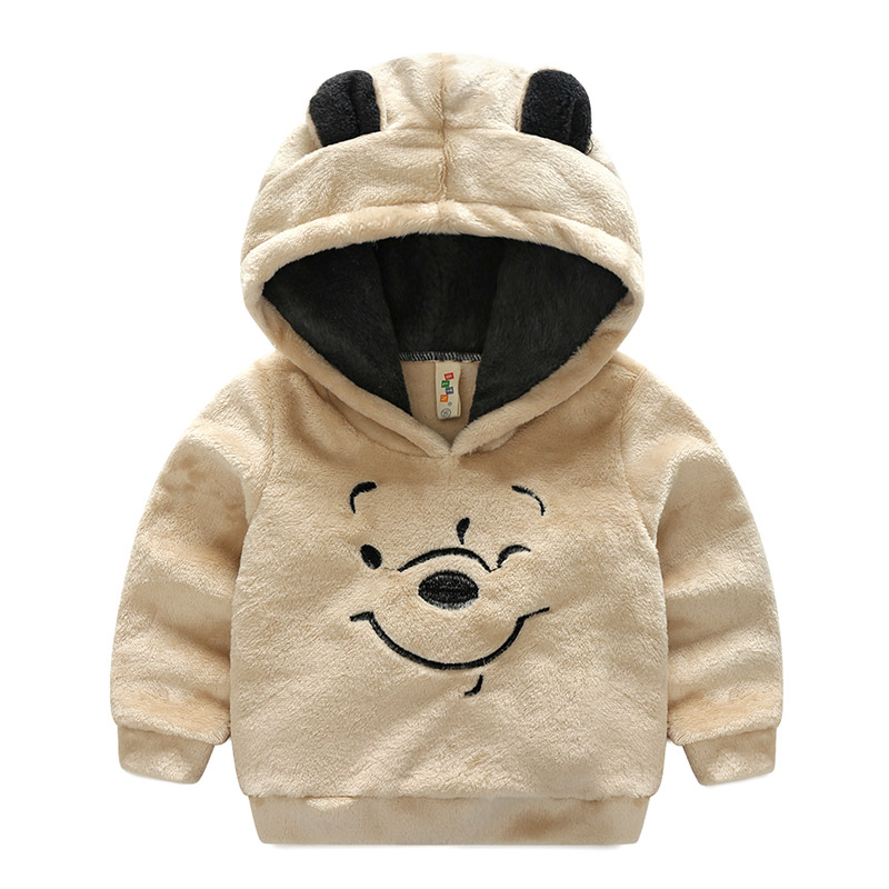 2018 New Winter Girls Kids Boys Faux Fur Thick Plush Pullover Comfortable Cute Baby Clothes Children Clothing Bear Hooded Cloth