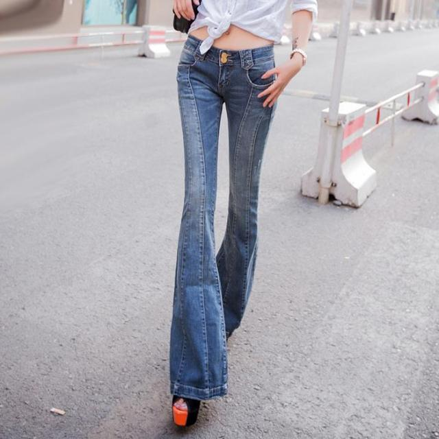 0d082f5047 Vintage Low rise Women Skinny Jeans wide leg womens flare jeans femme  stretch calsa
