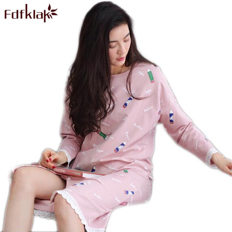Fdfklak Spring Summer Long Sleeve   Nightgowns     Sleepshirts   Long Womens   Nightgowns   Women Sleepwear Cotton Ladies Sleepwear Q610