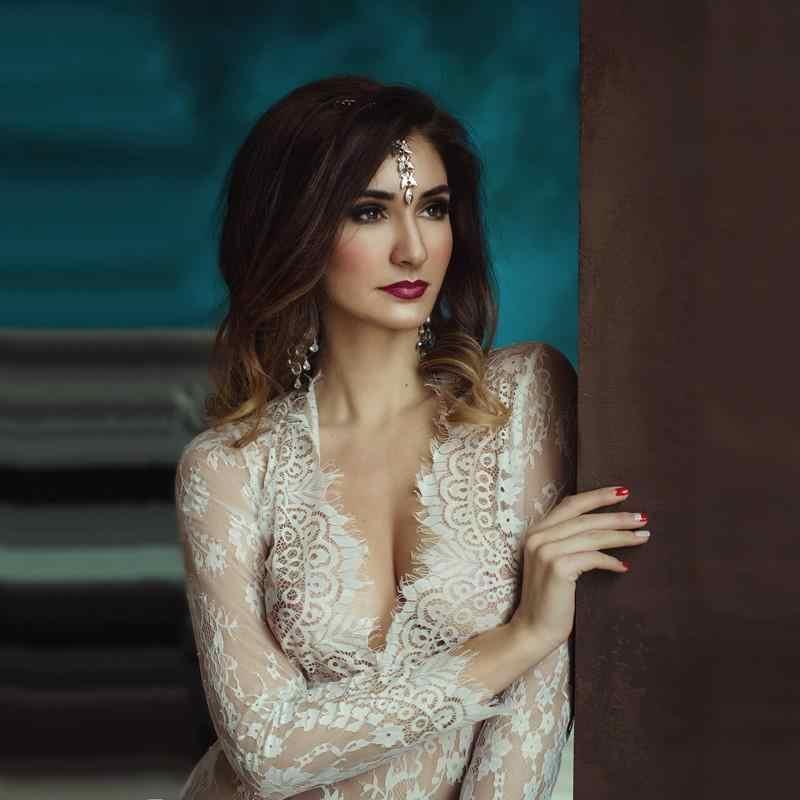 d7d461e3f8d ... Women Boho Floor-Length Black White Lace Dress Adjust Waist Sexy See  Through Maxi Dress ...