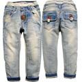 3640 fina luz azul não se desvanece primavera outono da menina do menino crianças calças de brim calças calças meninos meninas roupas para crianças 3-4 ANOS