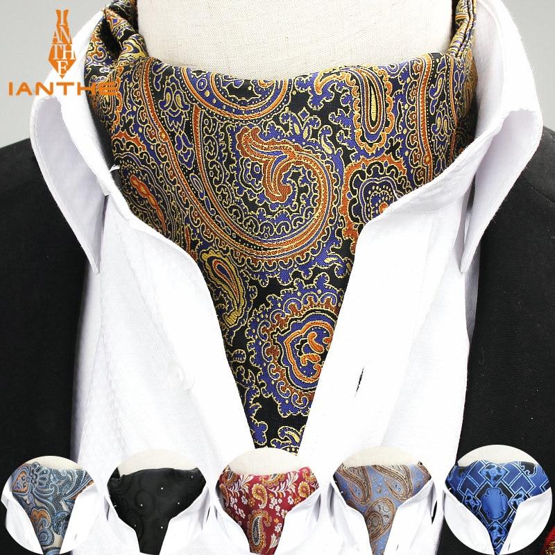 Men Vintage Paisley Geometric Wedding Formal Cravat Ascot Scrunch Self British Style Gentleman Polyester Silk Neck Tie Luxury