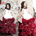 Lindo Branco E Borgonha Ruffles Mangas Colher Lace Applique Vestido de Baile Floristas Vestidos 2016 Das Meninas Vestidos Pageant