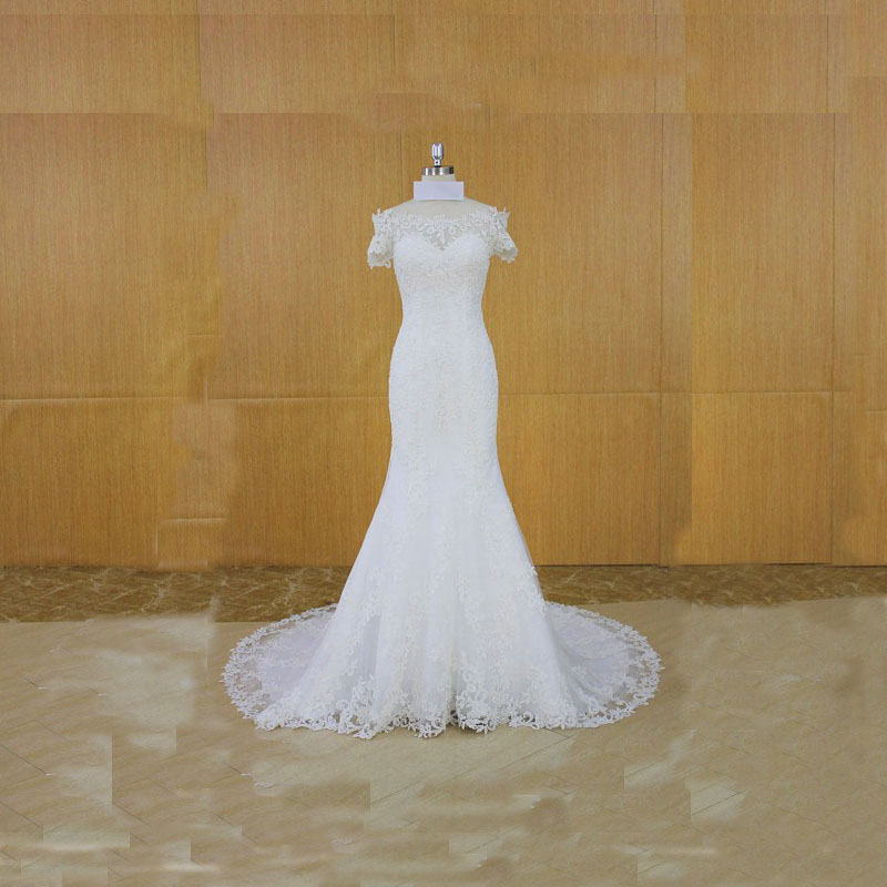 Super Elegant Short Sleeves Lace Wedding Dress Wedding