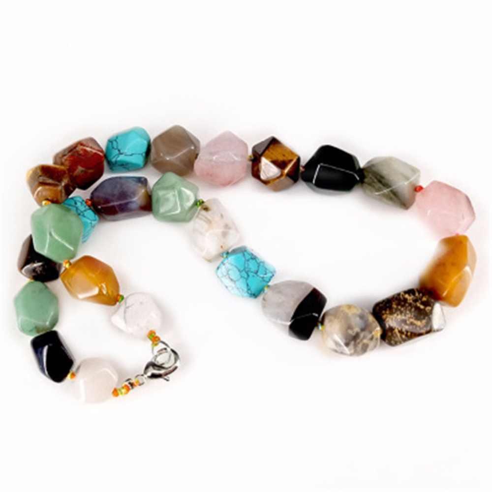 Druzy Fashion Natural Crystal Stone Random Irregular Beads String Necklace Multicolor Multisection Beads String Energy Necklace