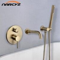Shower set Nickel Gold Brass Bathroom Shower Set hot and cold Wall Mounted bathtub split wall hidden embedded faucet DXT400