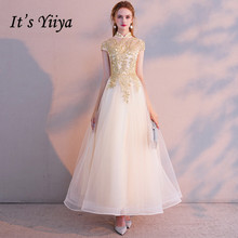 Its YiiYa Evening Dress Vintage Gold Lace Embroidery Party Dresses Short Sleeve Zipper Long Formal Gown For Women E021