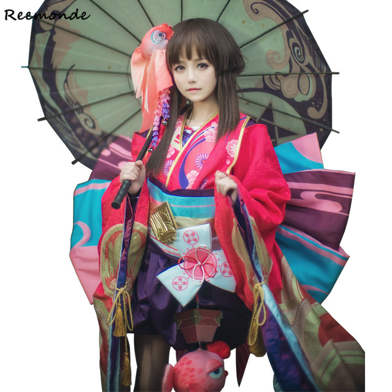 Games Yin Yang Master Onmyoji Minamoto Kagura Cosplay Costume Onmyoji Kawaii Cute Lovely Red Kimono Suit For Women Girls Clothes
