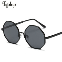Classic Fashion Hexagonal Octagon Polygon Sunglasses Women Men Brand Designer Metal Hollow Mirror Eyewear Oculos De