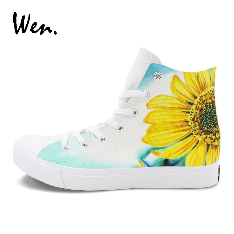 Wen Flower Shoes Painting Original Design Sunflower Hand Painted Shoes Canvas Flat High-Top Sneakers Women Men Gym Plimsolls wen sneakers colorful ice cream hand painted canvas shoes white high top plimsolls original design graffiti single shoes flat