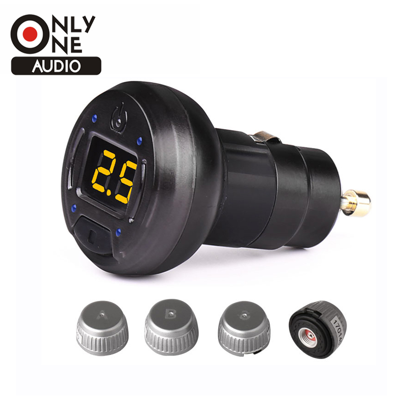 SPY Alarm System DIY Exterior Car TPMS Wireless Tire Pressure Monitoring System with 4 External Sensors and Value Number Display car tpms tire pressure wireless monitoring temperature system psi bar usb alarm 4 external sensors auto tire pressure alarm lcd