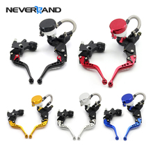 7/8 22mm Universal Motorcycle Brake Clutch Levers Master Cylinder Kit Fluid Reservoir Set 5 Colors Options Freeshipping D10