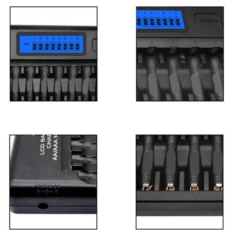 16 จอแสดงผล Lcd Smart Fast Charger หลายชาร์จไฟสำหรับ Ni-Mh Ni-Cd Aaa หรือแบตเตอรี่ Aa us Plug