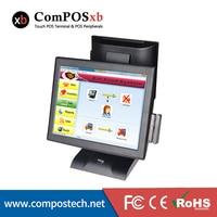 POS 15 Windows Сенсорный экран электронный кассовый аппарат с 12 дюймов клиента Дисплей для ресторана