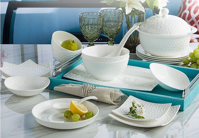 Pure White color ceramic tableware sets creative personality western style bone china dinnerware Plates bowls set & Pure White color ceramic tableware sets creative personality western ...