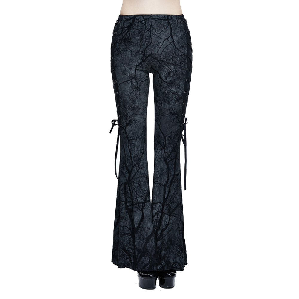 סניף מודפס למתוח גותי פאנק נשים מתרחבים מכנסיים מכנסיים התלקחות שרוכים Slim Fit Bodycon