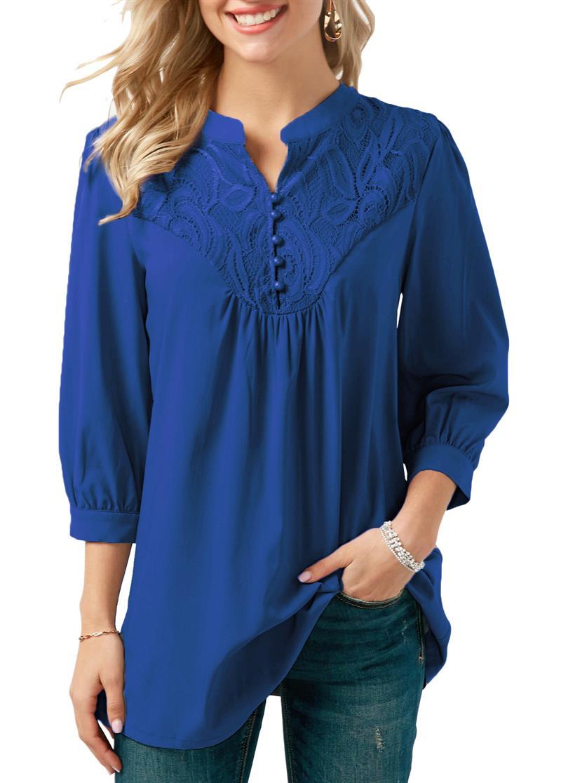 2018 Spring fashion blouse shirts v neck OL chiffon blouse office ladies 3/4 sleeves blouse shirt blusas WS6747y