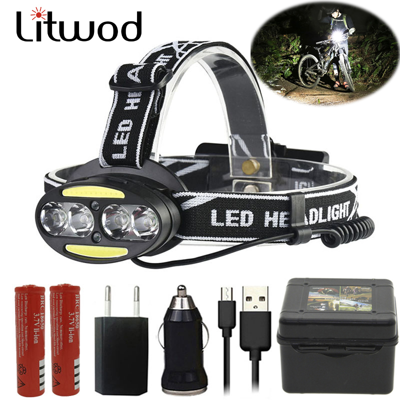Head Lamp Headlamp Headlight Flashlight Torch Lanterna 4 Xm-l Sensor Led Bulbs Litwod Camping / Cycling Hunting Hiking Lithium