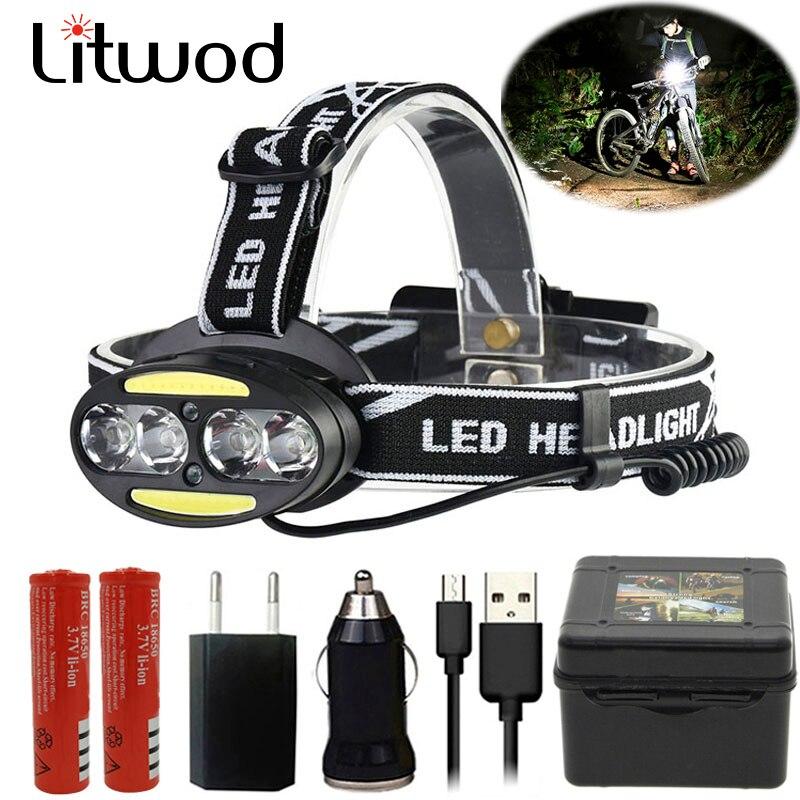 Litwod Z25 2style LED Head Lamp 4* XM-L T6 +2*COB Headlight 8000 Lumen Headlamp IR Sensor Head Flashlight Torch Lanterna