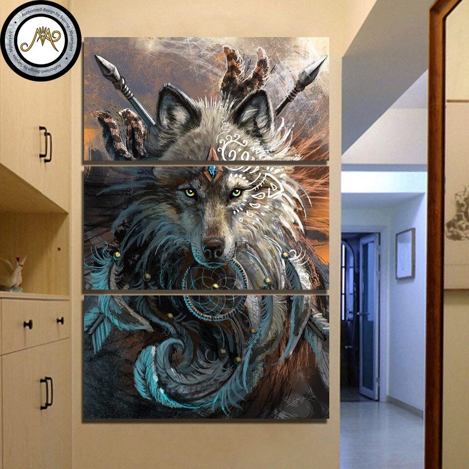 Wolf Krieger durch Sunima-MysteryArt HD druck 3 stück leinwand malerei kunst Native American Indian wolf feder traumfänger CU-3030C