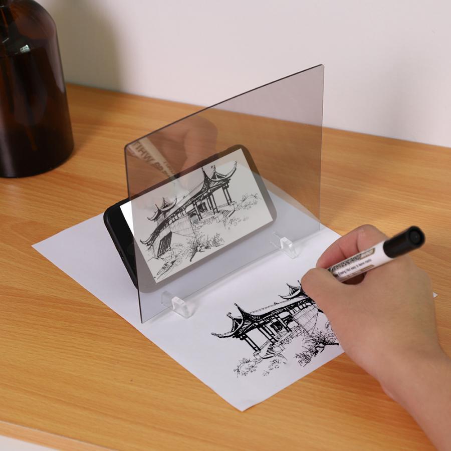 Placa de desenho com luz led, prancheta de traços e projeção para espelho de celular, luz de reflexão e traçamento