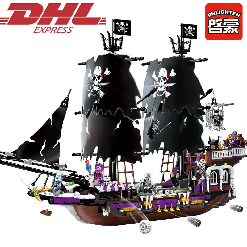 1313 1456Pcs Pirates Of The Caribbean The Black Pearl Model Building Kits Blocks Bricks Toys For Children Compatible With 4195 waz compatible legoe pirates of the caribbean 4184 lepin 16006 804pcs the black pearl building blocks bricks toys for children