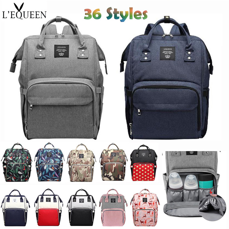 36 Styles LEQUEEN Mummy Maternity Nappy Bag Large Capacity Baby Diaper Bag Travel Backpack Designer Nursing Bags for Baby Care diaper bag mummy maternity nappy bags large capacity baby travel backpack designer nursing bag baby care for dad and mom 894286