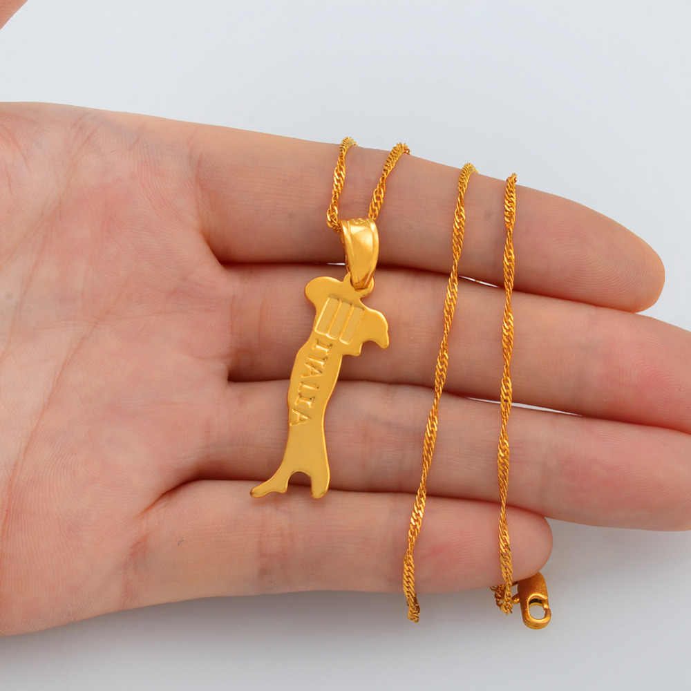Anniyo mapa włoch naszyjnik wisiorek łańcuchy 45 cm/60 cm dla kobiet/mężczyzn złoty kolor biżuteria włoska mapa włochy #007310