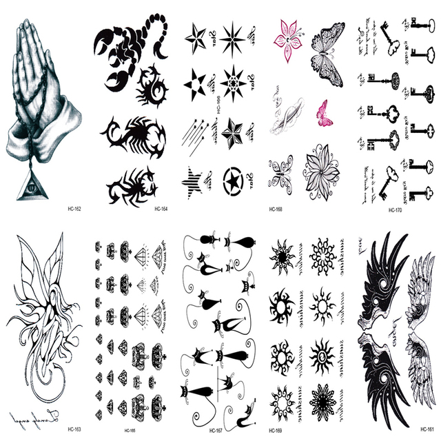 10 Unids Tatuaje Manga Impermeable Tatuaje Falso Adhesivos Rapido