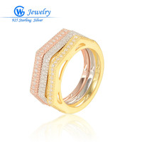 GW Fashion Ring set Jewelry 925 Sterling Silver Ring Gold Trendy Rings For Women CZ Silver Ring argent 925 RIPY036H20