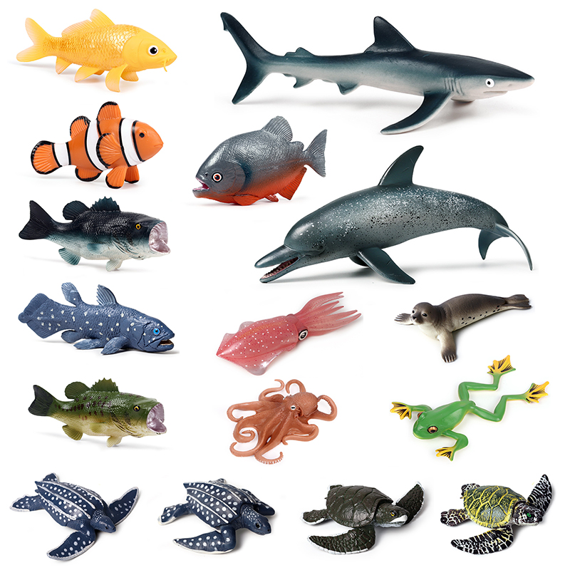 21 Styles Action&Toys Figure Ocean Marine World Animal Sea Life Shark Dolphin Fish Collection Model Doll For Children Gift
