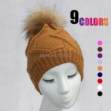 La moda de nueva 2015 tejer lana gruesa Warm Beanie Hat con genuina piel de mapache bola mujeres espesan forro de invierno de la gorrita tejida caps Cap