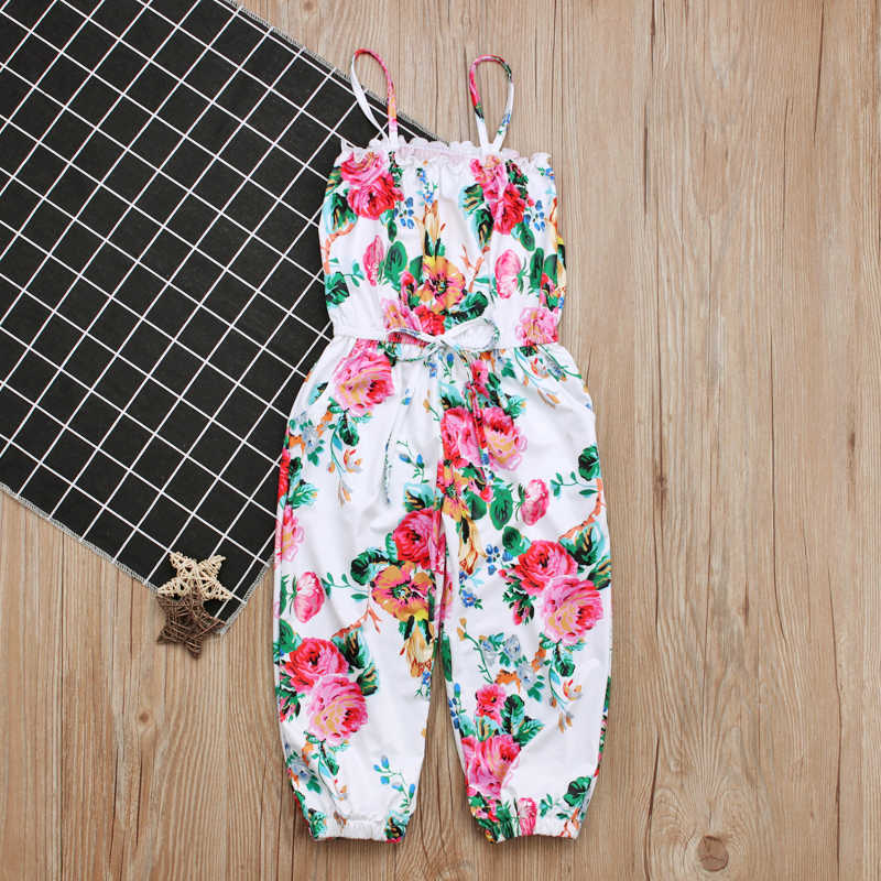 92a12a57ce8 ... Rorychen Kid Girls Jumpsuit Summer Floral Print Girls Bohemian Romper  Teenage One-pcs Garment Girls ...