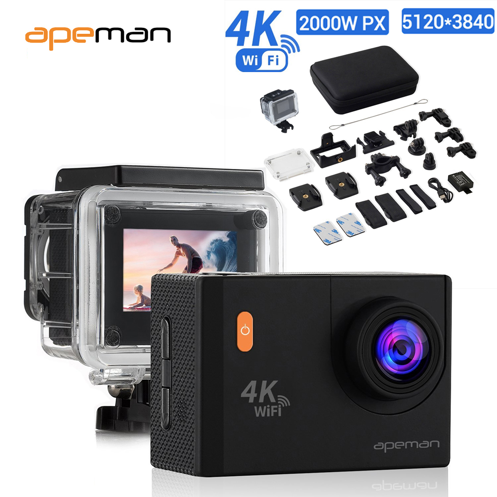 apeman action 20 14 12mp camera 4k 1080p wifi fhd 2 0 inch. Black Bedroom Furniture Sets. Home Design Ideas