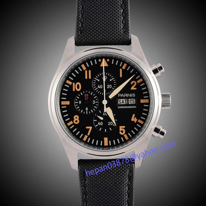 Parnis watch 42mm black dial Full chronograph date week display luminous hands orange marks quartz movement Men's watch 133 цена и фото
