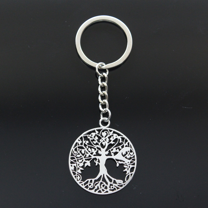 Hot Fashion Peace World Tree 40x35mm Pendant 30mm Key Ring Metal Chain Silver Men Car Gift Souvenirs Keychain Dropshipping