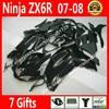 Free Custom Fairings For Motorcycle Kawasaki ZX6R 2007 2008 Ninja 636 Fairing Kits 07 08 New