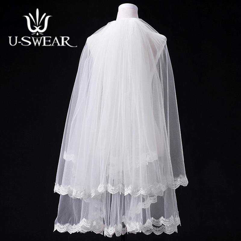 Romantic Short Wedding White Veil Bride Applique Edge Plain Dyed Party 2 Layers