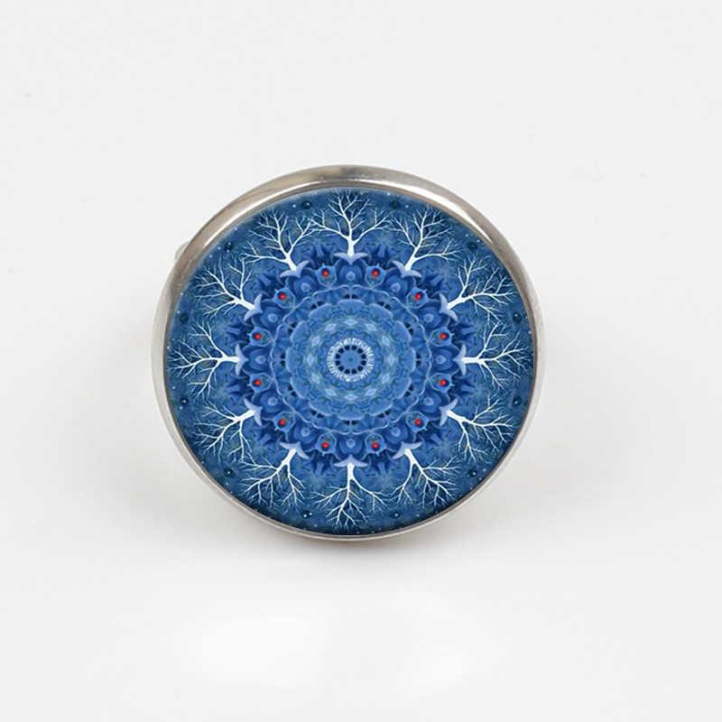 ZBOZWEI 2018 fiore Blu mandala fiore Anello simbolo om Buddismo Zen Yaga calda dome Anello hennè fatto a mano gioielli di cristallo anello
