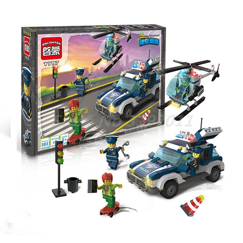 Enlighten 1117 Building Blocks City Police Series Playmobil Helicopter Highway Pursuit Toys Bricks Toys for Children Birthday